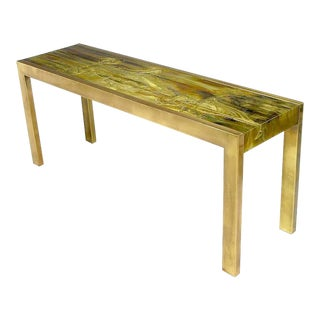 Mastercraft Brass Console with Bernhard Rohne Acid-Etched Top