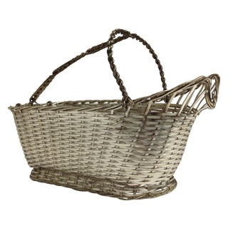 Christophle Silver Woven Wine Basket Caddy