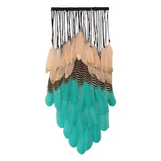 Aqua Green & Peach Dipped Feathers Wall Hanging