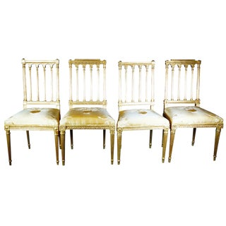 18th Century Column Neoclassical Gold Dining Chairs - Set of 4