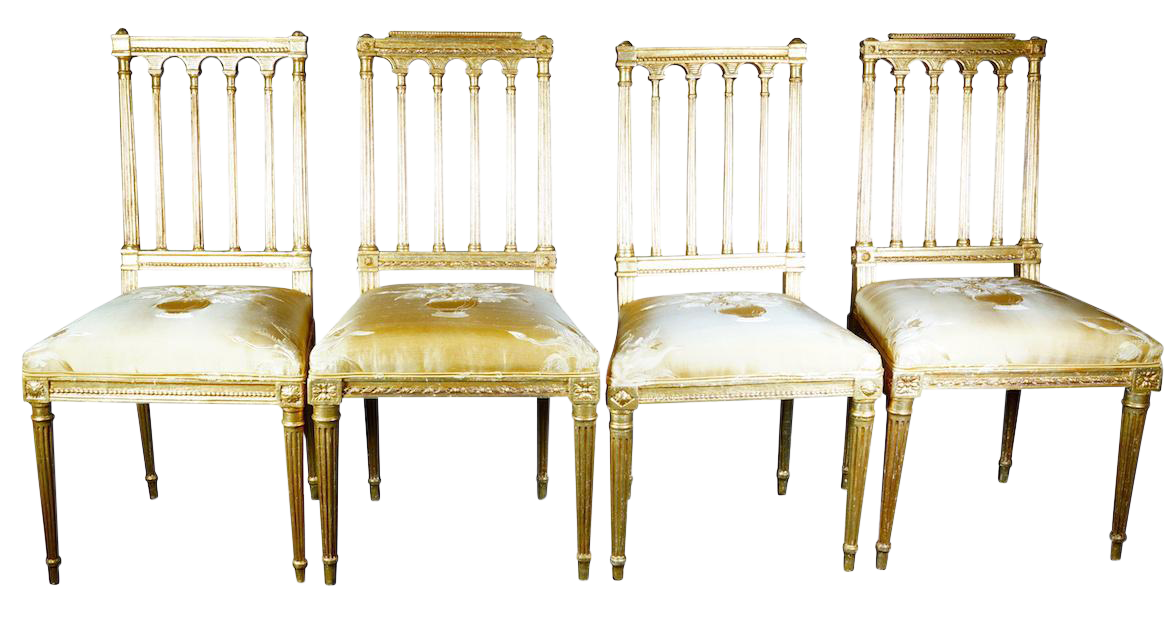 18th century column gold dining chairs set of 4