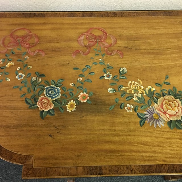 Hand-Painted Floral Console Table - Image 8 of 11