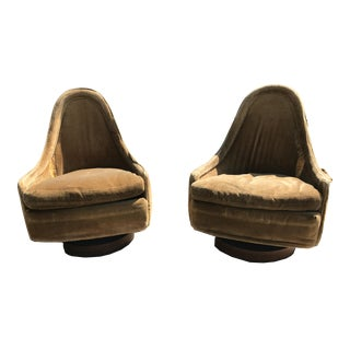 Pair of Petite Modern Swivel Slipper Lounge Chairs by Milo Baughman for Thayer Coggin