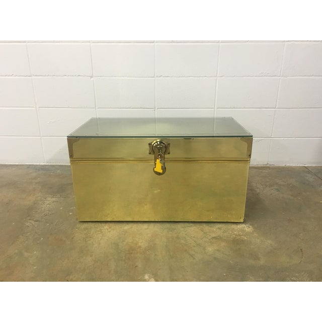 Dresher Cedar Lined Brass Trunk With Glass Top - Image 2 of 11