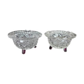 Regency Cut Glass Footed Ashtrays - A Pair