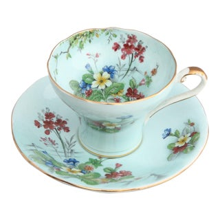 1940's Aynsley England Porcelain Corseted Floral Tea Cup and Saucer