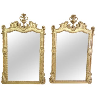 Italian Palatial Gilt Carved Mirrors - A Pair