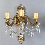 Image of Pair of Large French Brass and Crystal Three Light Sconces