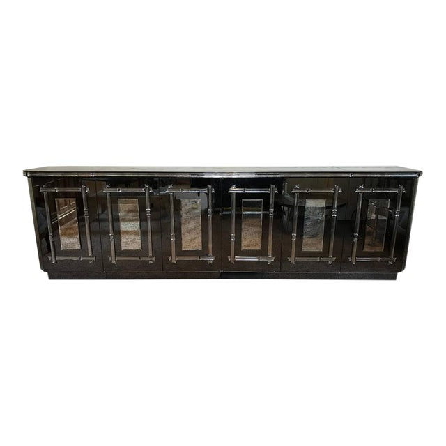 Hollywood Regency All Mirrored Sideboard Cabinet - Image 1 of 11