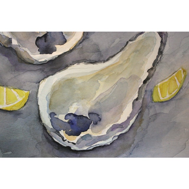 Image of Original Oysters with Lemons Watercolor Painting