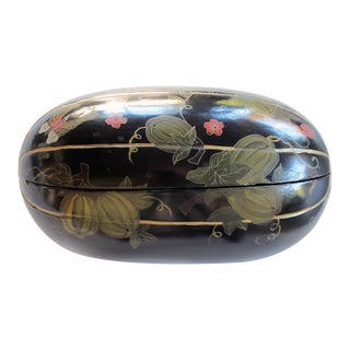 Delightful Japanese Black Lacquered Gourd-Form Box