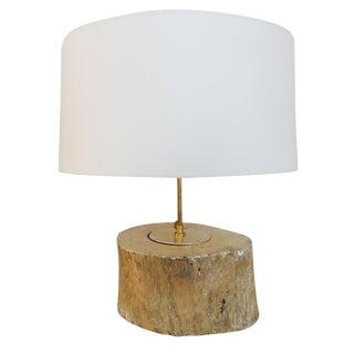 Gold Enameled Tree Stump Lamp