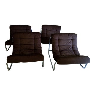 Vintage Chrome & Corduroy Upholstered Chairs - Set of 4