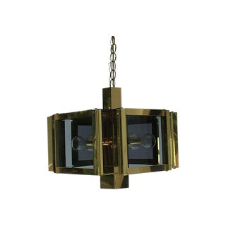 Fredrick Ramond Hexagon Gold & Glass Chandelier