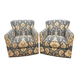 Bassett Blue Ikat Swivel Gliders - Pair