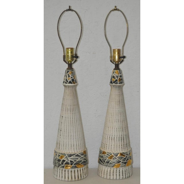 Image of Mid-Century Glazed Ceramic Table Lamps - A Pair