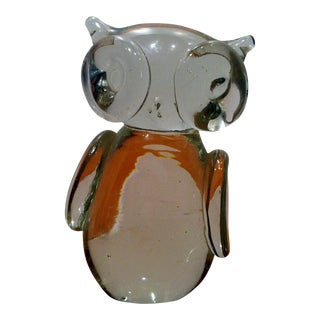 Vintage Glass Owl Figurine Paperweight