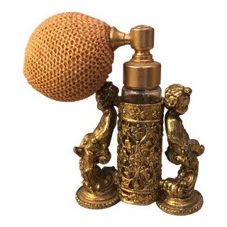 Brass Cherub Perfume Bottle Holder & Glass Perfume Bottle
