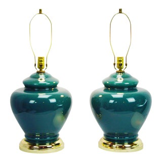 Mid-Century Green Glass Table Lamps - A Pair