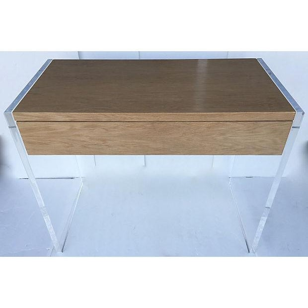 Mid-Century Veneer Wood and Lucite Desk/Vanity - Image 3 of 7