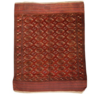 Antique Mid-19th Century Part Silk Turkoman Salor Carpet
