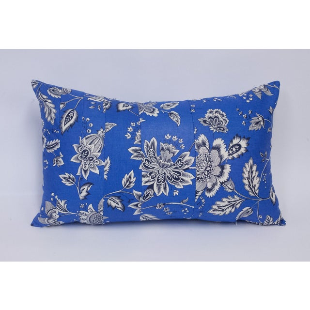 Black & White Floral on Blue Accent Pillow - Image 3 of 5