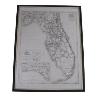 Vintage 1933 Framed Map of Florida