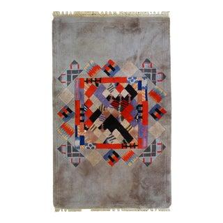 1980s handmade vintage Tibetan Khaden Modern rug 3' x 5'
