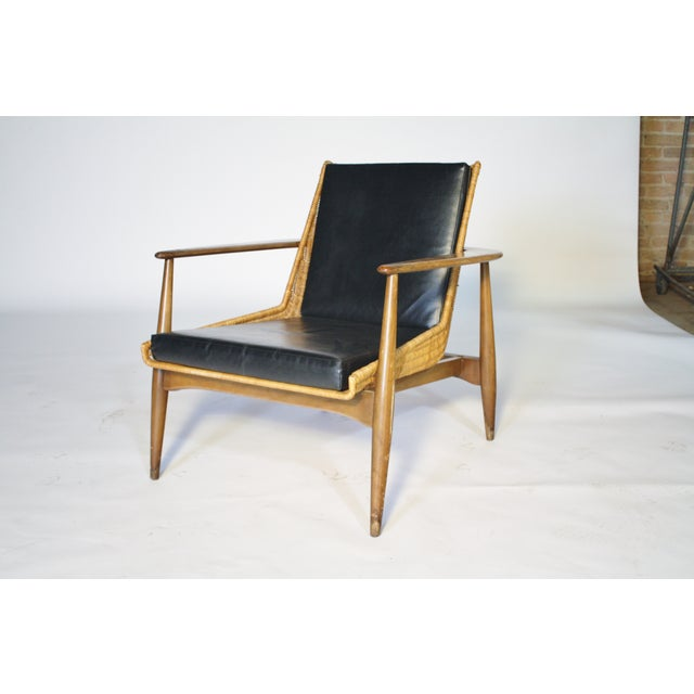 Image of Lawrence Peabody Black Leather Lounge Chair