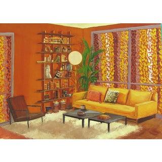 Mid-Century Modern Interior Gouache
