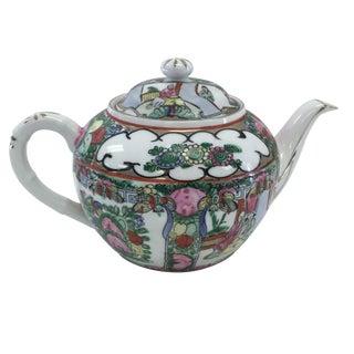 Vintage Rose Medallion Porcelain Teapot & Lid