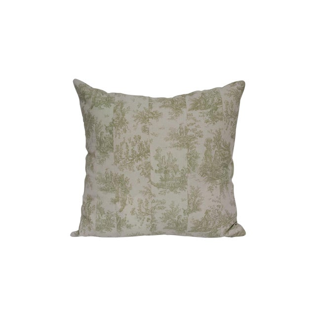 Deconstructed Green & Cream Toile Pillow - Image 1 of 4