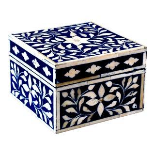 Indian Bone Inlaid Blue Jewelry Box