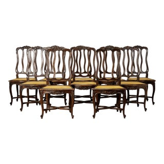 Set of Ten French Louis XV Style Cane Dining Chairs