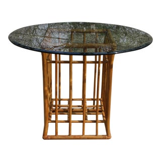 Vintage Rattan Round Glass Top Dining Table