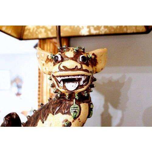 Chinese Yellow Glazed Ceramic Foo Dog Lamp - Image 4 of 9