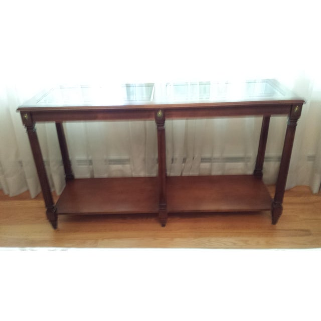 Vintage Solid Fruitwood and Beveled Glass Console Table - Image 9 of 11