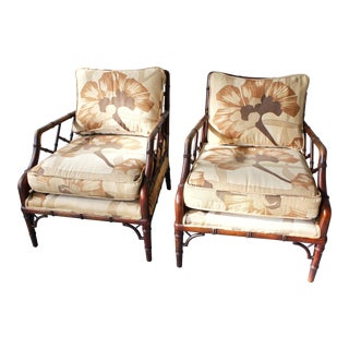 Vintage Century Furniture Co. Faux Bamboo Fretwork Lounge Club Chairs - a Pair