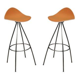 Pair Onda Barstools Orange Rubber & Steel Metal Jesús Gasca Stua Modern Chair B