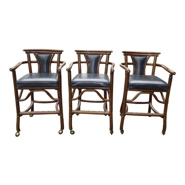 Ritts Co. Mid-Century Bamboo Bar Stools - Set of 3 - Image 1 of 11