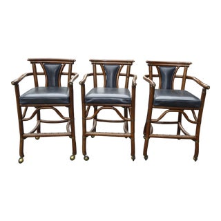 Ritts Co. Mid-Century Bamboo Bar Stools - Set of 3