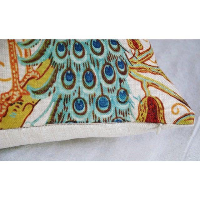 Colorful Peacock Linen Feather/Down Pillow - Image 4 of 5