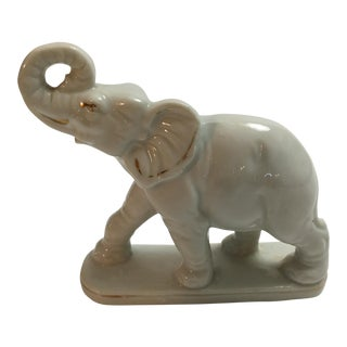 Mid-Century Japanese White Ceramic Elephant