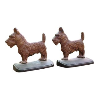 Cast Iron Scottie Dog Bookends - A Pair