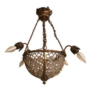 Bronze Crystal Light Fixture Basket Chandelier