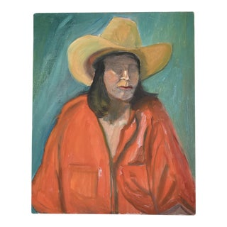 """""""Cowboy Woman in Red"""" Original Oil Painting"""