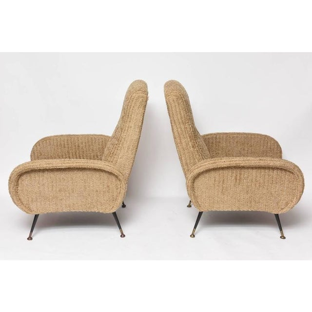 Mid-Century Italian Lounge Chairs with Original Metal and Brass Legs - Image 4 of 10