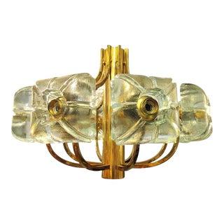Vintage Kalmar Block Glass & Brass Chandelier