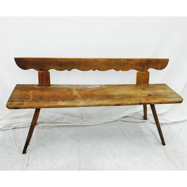 Antique Wooden Farm Bench - Image 4 of 10