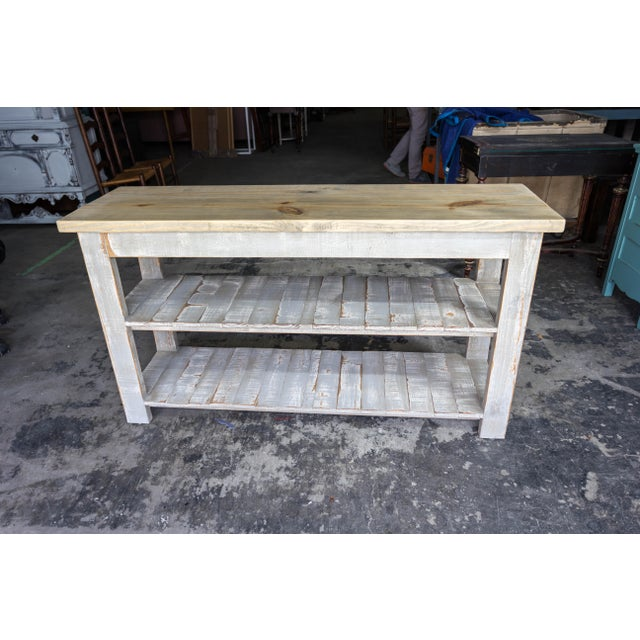 Gray Reclaimed Wood Console Two Shelf Table With Light Distress - Image 2 of 8